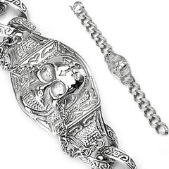 Rage - Boldly Crafted Large Skull Gothic Chain Stainless Steel Dangerous Style Bracelet