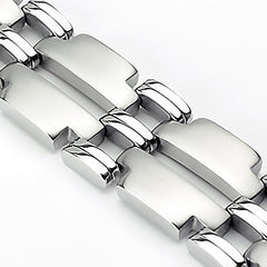 Big Ticket - Wide T link dual finish double band men's stainless steel bracelet