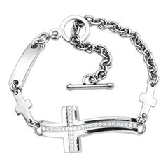 Faith In Fashion - Stylish Yet Traditional Center Filled Cubic Zirconias Curvy Cross Bracelet