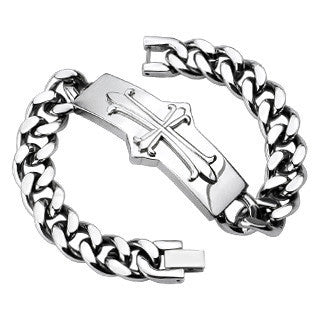Medieval Rectangular Cross - Stainless Steel Chain Bracelet With A Cross