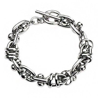 Strong Man - Silver stainless steel moving dumbbells linked bracelet