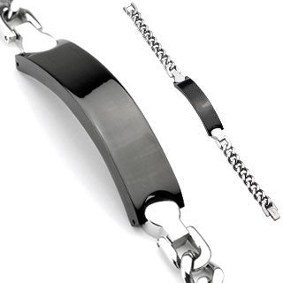 Dark Knight - Black Stainless Steel Engravable Chain Bracelet