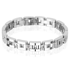 Beaming Shine - Five Square CZ Chain Linked Stainless Steel Men's Bracelet