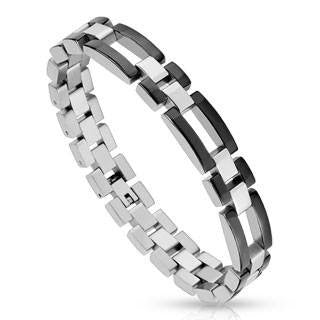 Rogue - Black IP and silver stainless steel two tone rectangle link bracelet