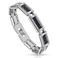 Midnight Trio - Three Blue And Black Carbon Fiber Inlay Stainless Steel Men's Bracelet