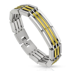 Powerhouse Gold - Heavy linked industrial silver and gold IP segmented stainless steel bracelet