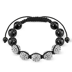 Balanced Buddha - FINAL SALE Black and White Beads Resembling Day and Night Shamballa Bracelet