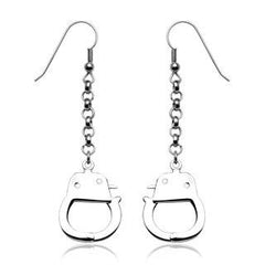 Under Arrest Earrings - Hook Style with Dangling Handcuffs Design Stainless Steel Earrings