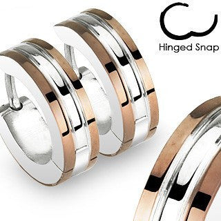 Caffeine - Two Tone Hinged Hoop Style Coffee and Stainless Steel Earrings