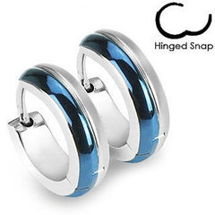 Blue Lagoon - Hinged Snap Blue and Stainless Steel Classic Earrings
