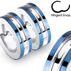 Feminine Spirit - Blue Skies Unique Industrial Modern Style Stainless Steel Hinged Hoop Earrings with Blue Edges
