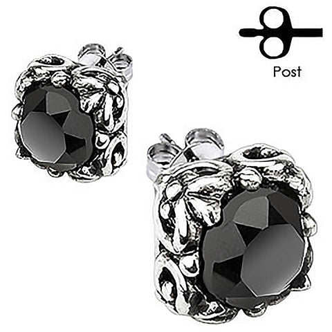 Black Glamor– Carved gothic floral design with black cubic zirconia solitaires set in surgical stainless steel stud earrings