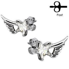 Starflight - Angelic Wings Design Stainless Steel Earrings with Cubic Zirconia Stars