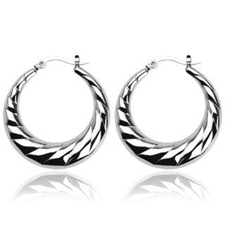 Seduction in Silver - Crescent Moon Stainless Steel Hoop Style Earrings