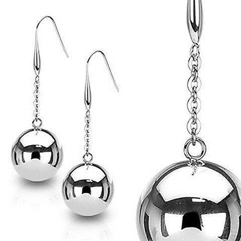 Ball and Chain - Sparkling Stainless Steel Light Ball Long Earrings
