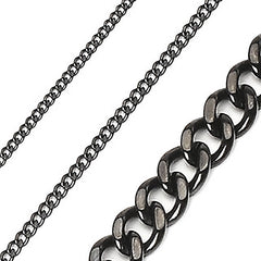Black Linx - Glossy Black stainless steel Cuban Link Chain Necklace