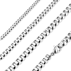 Geometric - Unisex Stainless Steel 18 Inch Box Chain