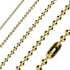 "Classic Gold Ball Chain - 22.4"" Gold IP Stainless Steel Ball Chain Necklace"