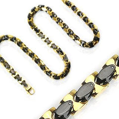 Manhattan After Dark Necklace - Black IP and gold IP stainless steel two tone oval in square link necklace