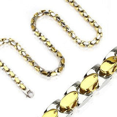 St. Tropez Necklace Gold IP and stainless steel two tone oval in square link necklace