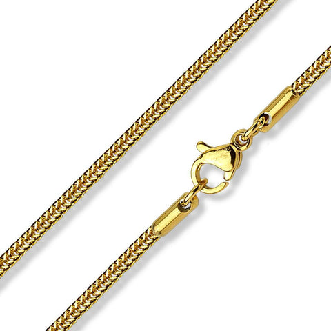 Long Gold Square Snake Chain - 535mm Long Stainless Steel Gold IP Plated Necklace