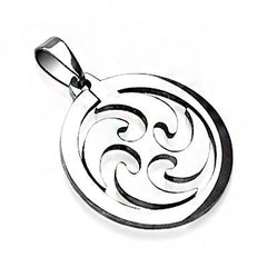 Cyclone - Silver stainless steel stylized whirlwind design pendant