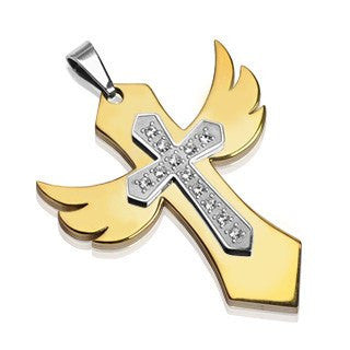 You Raise Me Up - Unique Winged Cross Golden and Stainless Steel Pendant