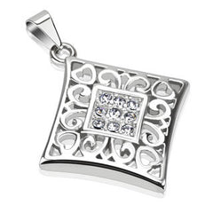 Hearts and Diamonds – Diamond shaped scrolled heart design pendant with round-cut cubic zirconias