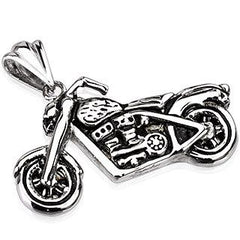 Highway Star - Detailed, oxidized silver stainless steel motorcycle pendant