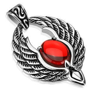 Phoenix - Phoenix Wings with Red Orb Stainless Steel Magical Design Pendant