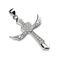 Beloved - CZ Paved Heart on An Angel Wing Cross Stainless Steel Pendant