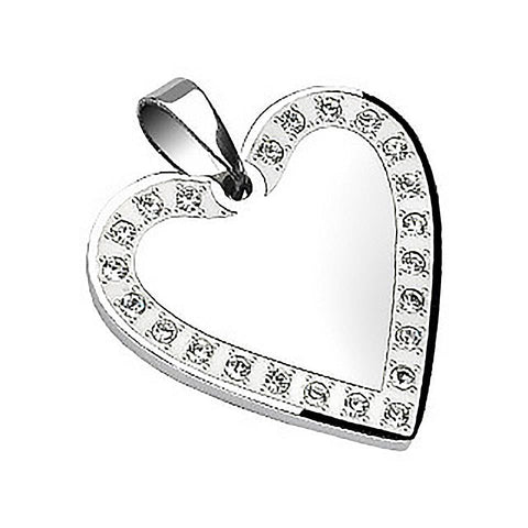 Be Steel My Heart - Heart Shaped Romantic Stainless Steel Pendant with Cubic Zirconias