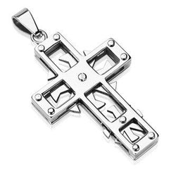 Mechanicross - Cool Swirls and Edges Master Work Of Craftsmanship Stainless Steel Cross Pendant