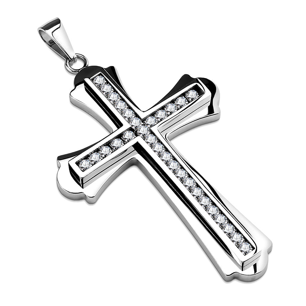Dazzling Cross - Stainless Steel Layered Cross Pendant With Clear CZ Stones