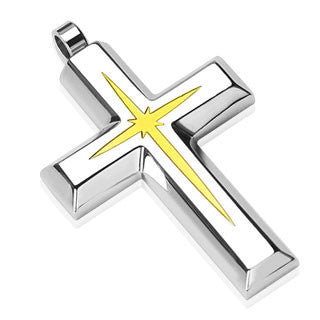 Shining Star Cross - Stainless steel cross pendant with PVD gold star center