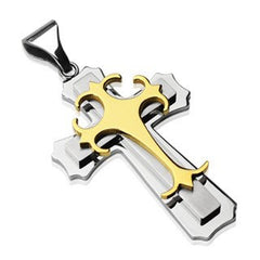 Crossroads Gold - Designed with Rich Finish Gold Plated Stainless Steel Classic Approach Cross Pendant