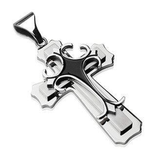 Crossroads Black - Black Slayer Great Finish Of Black and Stainless Steel Exquisite Design Cross Pendant