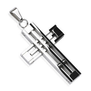 Grand Design - Contemporary Industrial Style Stainless Steel Grand Design Cross Pendant