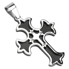 Double Cross - Faith and Elegance Beauty Of Black and Silver Cross Pendant