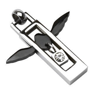 Flight - Black Angel Wings Square Silver and Black Stainless Steel Pendant