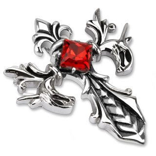 Crimson Cross Fleur De Lis - FINAL SALE In French Flower of Lily in Stainless Steel Sophisticated Design Cross with Red Princess-Cut Cubic Zirconia