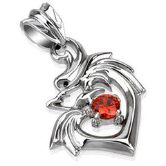 Dragonheart – Sculpted Polished Stainless Steel Tribal Dragon Design Heart Shaped Pendant with Ruby Red Cubic Zirconia Solitaire