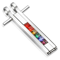 Indomitable - Rainbow colored gemstone bar pendant set in polished stainless steel