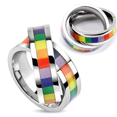 Double Rainbow- Double band linked ring pendant with rainbow colors inlayed in stainless steel
