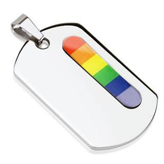 Diversity Dog Tag - Vertical Rainbow Bar Stainless Steel Engrave Ready Dog Tag Pendant