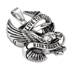Ride to Live- Classic biker live to ride to live black and silver carved stainless steel eagle pendant