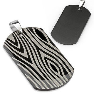 Wild Thing – Edgy rock and roll black silver stainless steel etched zebra print dog tag