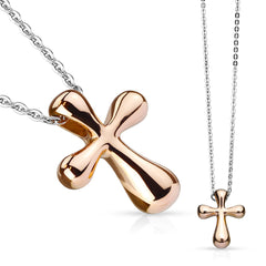 Rose Gold Holy Spirit - Stainless Steel Cross Pendant With 23 Inch Chain Necklace