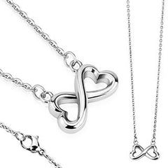 Love Infinite - Heart shaped infinity symbol silver stainless steel necklace