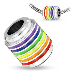 One Love Pendant - Rainbow Striped Hollow Cylinder Stainless Steel Pendant